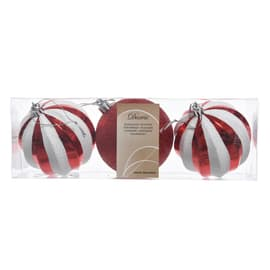 Sfera natalizia in plastica Ø 8 cm confezione da 3 pezzi