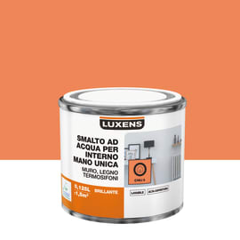 Smalto LUXENS base acqua arancio chili 5 lucido 0,125 L