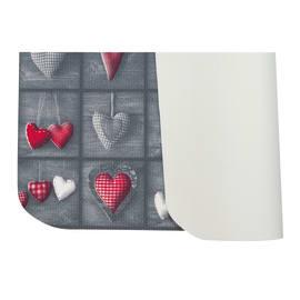Tappeto Cucina antiscivolo Full cuori patch grigio 180x55 cm