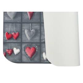 Tappeto Cucina antiscivolo Full cuori patch grigio 230x55 cm