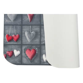 Tappeto Cucina antiscivolo Full cuori patch grigio 280x55 cm