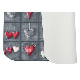 Tappeto Cucina antiscivolo Full cuori patch grigio 75x55 cm