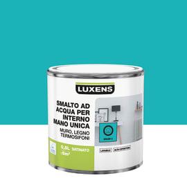 Smalto LUXENS base acqua blu miami 3 satinato 0.5 L