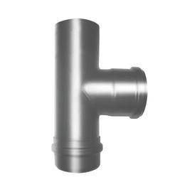Raccordo per canna fumaria Raccordo T  a 90° mfm con tappo cieco smaltato grigio Dn 80 mm in acciaio al carbonio Ø 80 mm