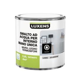 Smalto LUXENS base acqua nero satinato 0.5 L