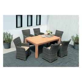 Set tavolo e sedie Australia in legno marrone 6 posti