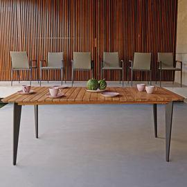 Set tavolo e sedie Cosmo in alluminio nero e marrone e grigio / argento 6 posti