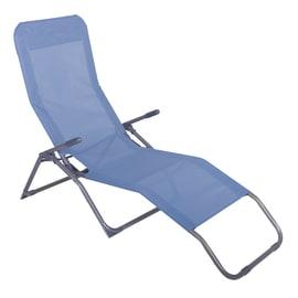 Lettino senza cuscino pieghevole NATERIAL Denver in acciaio blu