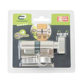 Cilindro Europeo 1 ingresso chiave e 1 pomolo STANDERS in ottone nichelato 30 + 30 mm interasse 30 mm