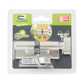 Cilindro Europeo 1 ingresso chiave e 1 pomolo STANDERS in ottone nichelato 40 + 40 mm interasse 40 mm