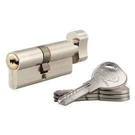 Cilindro Europeo 1 ingresso chiave e 1 pomolo STANDERS in acciaio nichelato interasse 70 mm