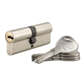 Cilindro 2 ingressi chiave STANDERS in ottone nichelato 40 + 40 mm interasse 40 mm