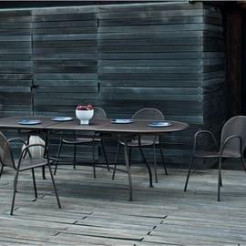 Set tavolo e sedie Evo in metallo nero 6 posti