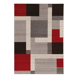 Tappeto Casa grey riquadri multicolor 300x200 cm