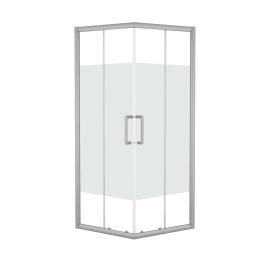 Box doccia scorrevole Quad 80 x 80 cm, H 190 cm in alluminio e vetro, spessore 6 mm serigrafato argento
