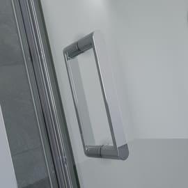 Box doccia rettangolare battente 80 x 80 cm, H 195 cm in alluminio e vetro, spessore 8 mm trasparente argento