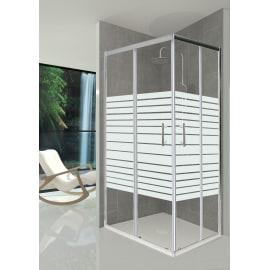 Box doccia rettangolare 70 x 90 cm, H 190 cm in vetro temprato, spessore 5 mm serigrafato argento