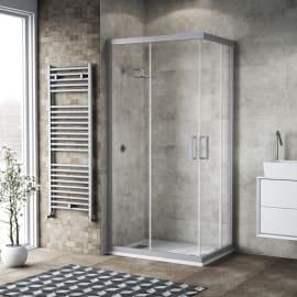 Box doccia scorrevole 90 x 90 cm, H 200 cm in alluminio e vetro, spessore 6 mm trasparente argento