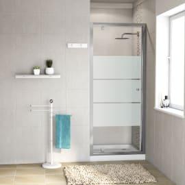 Porta doccia battente Dado 90 cm, H 185 cm in vetro temprato, spessore 5 mm smerigliato cromato
