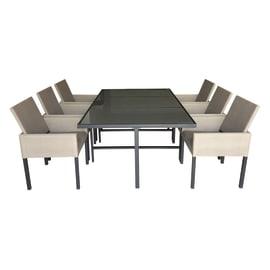 Set tavolo e sedie Cassel in metallo marrone 6 posti
