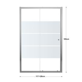 Porta doccia scorrevole Dado 120 cm, H 185 cm in vetro temprato, spessore 5 mm smerigliato cromato