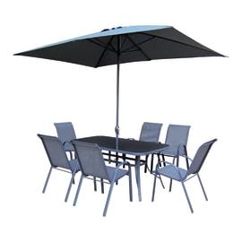 Set tavolo e sedie in metallo multicolore 6 posti