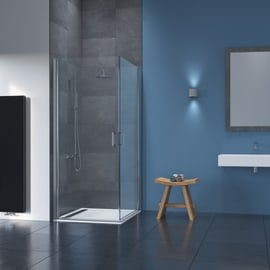 Box doccia rettangolare battente 90 x 90 cm, H 195 cm in alluminio e vetro, spessore 8 mm trasparente argento