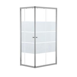 Box doccia rettangolare scorrevole Dado 90 x , H 185 cm in alluminio e vetro, spessore 5 mm vetro di sicurezza smerigliato cromato