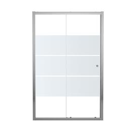 Porta doccia scorrevole Dado 140 cm, H 185 cm in vetro temprato, spessore 5 mm smerigliato cromato