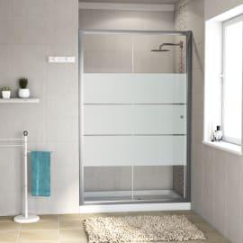 Porta doccia 1 anta fissa + 1 anta scorrevole Dado 140 cm, H 185 cm in vetro temprato, spessore 5 mm smerigliato cromato
