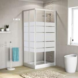 Box doccia scorrevole 80 x 90 cm, H 185 cm in alluminio e vetro, spessore 4 mm serigrafato bianco