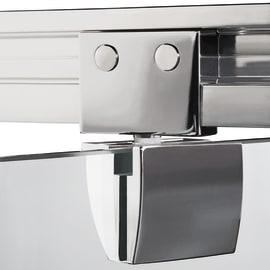 Porta doccia battente Quad 80 cm, H 190 cm in vetro, spessore 6 mm brinato / trasparente argento