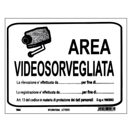 Cartello segnaletico Area videosorvegliata pvc 20 x 30 cm
