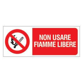 Cartello segnaletico No fiamme libere vinile 31 x 14 cm
