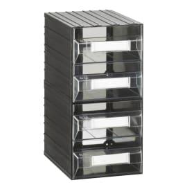 Contenitore per viti con cassetti in plastica nero 4 scomparti