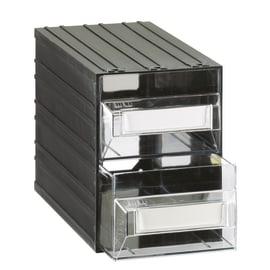 Contenitore per viti con cassetti in plastica nero 2 scomparti