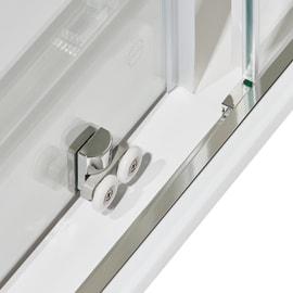 Box doccia quadrato scorrevole Dado 79 x 79 cm, H 185 cm in alluminio e vetro, spessore 5 mm serigrafato cromato