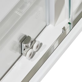 Box doccia rettangolare scorrevole Dado 80 x 100 cm, H 185 cm in alluminio e vetro, spessore 5 mm trasparente cromato