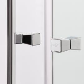 Box doccia rettangolare scorrevole Dado 70 x 90 cm, H 185 cm in alluminio e vetro, spessore 5 mm vetro di sicurezza trasparente cromato