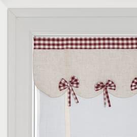 Tendina vetro Anika bianco e rosso tunnel 60x230 cm