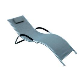 Lettino senza cuscino Cervia in metallo grigio antracite
