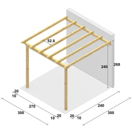 Pergola Flamingo in legno marrone L 300 x P 300 x H 268 cm