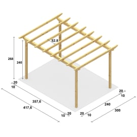 Pergola Eagle in legno marrone L 417.6 x P 300 x H 268 cm