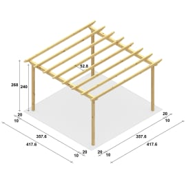 Pergola Eagle in legno marrone L 417.6 x P 417.6 x H 268 cm