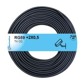 Cavo multimedia RG59+2x0.5 mm Matassa 100 m nero
