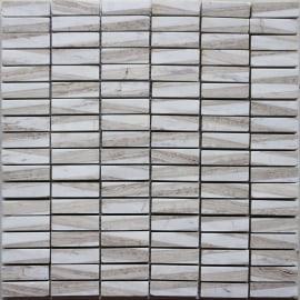 Mosaico Mineral H 0.8 x L 30 cm bianco, beige