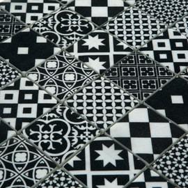 Mosaico Cementina H 30 x L 30 cm bianco, nero