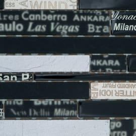 Mosaico City H 29 x L 33.5 cm nero, argento, oro