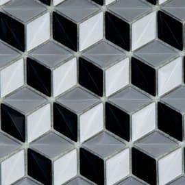 Mosaico Cubo 3D H 28 x L 28 cm bianco, nero, grigio