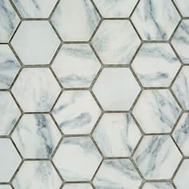 Mosaico Esagona H 30 x L 33 cm bianco, grigio